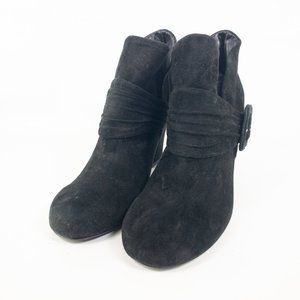 Womens Black Leather Round Toe Booties Size US 10M